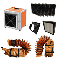 Complete package of Husqvarna A 1000, pre filters, inlet adapter, HEPA filter, and 2 PVC ducting accessories.