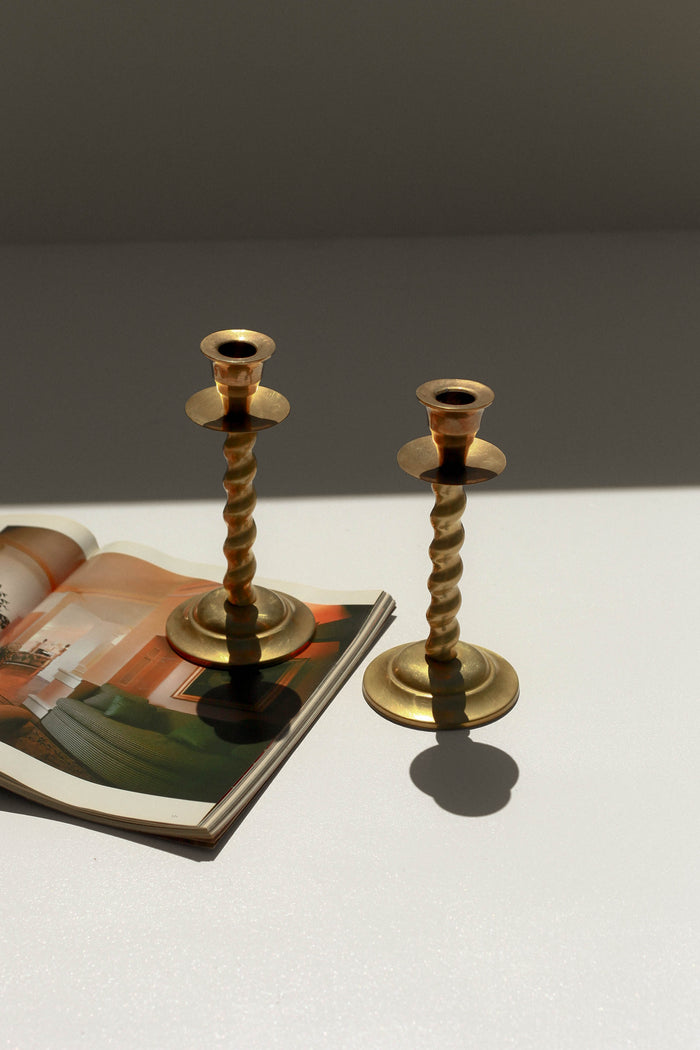 Spiraled Brass Candlestick Pair