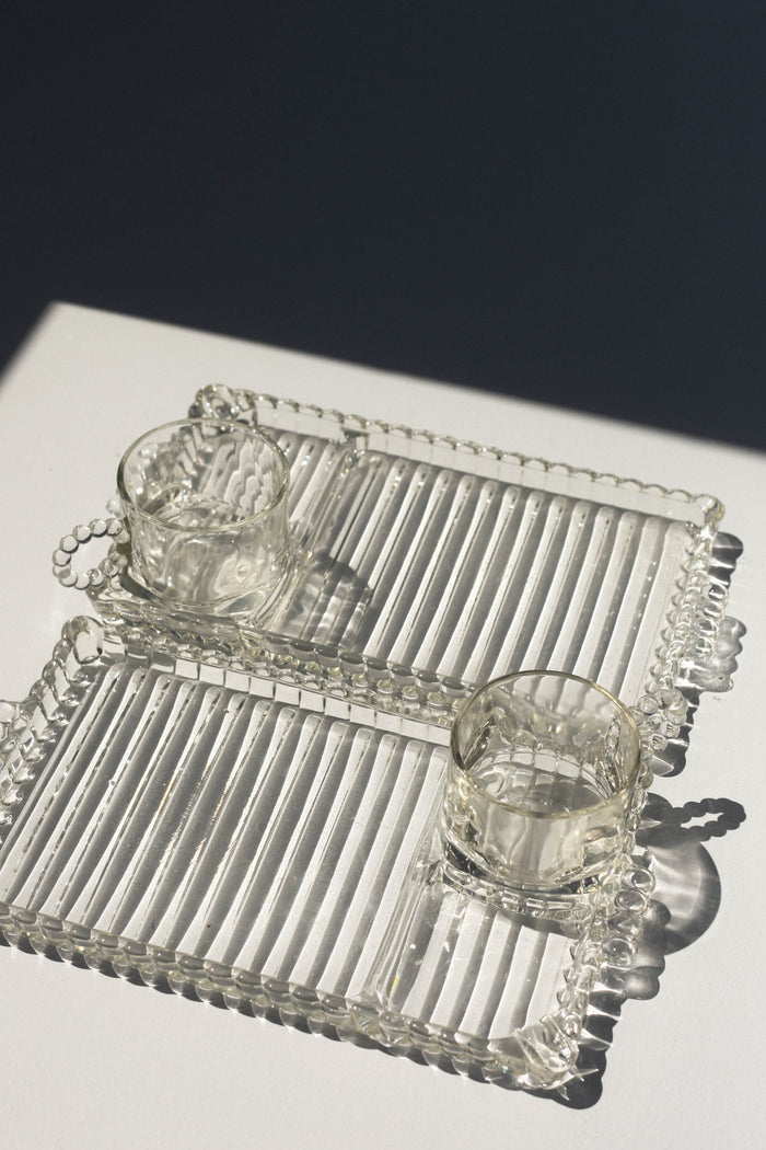 Beaded Glass TV Tray Set