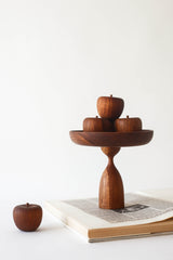 Wooden Pedestal & Apple Set