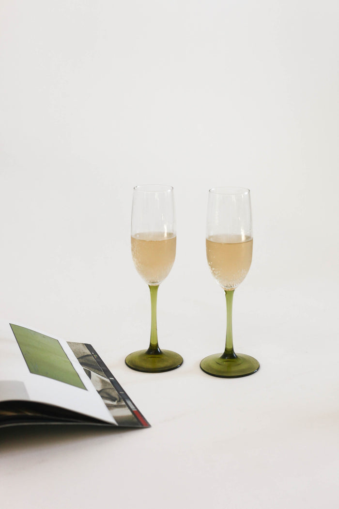Green Champagne Flutes