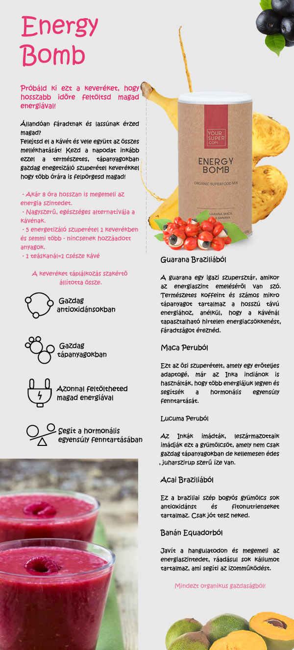 Your Superfoods Energy Bomb infografika