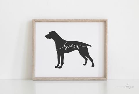 German Shorthaired Pointer Silhouette Pet Art Print