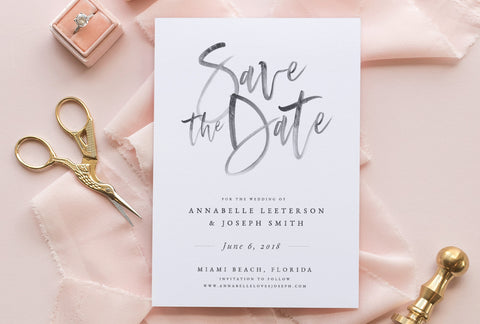 Calligraphy Watercolor Save The Date