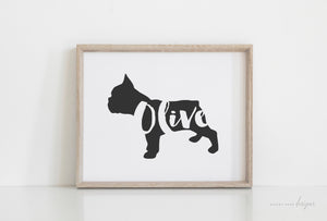 French Bulldog Silhouette Pet Art Print