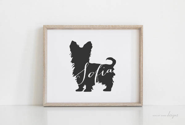 Teacup Yorkie Silhouette Pet Art Print