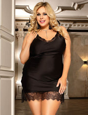BLACK SILK SATIN LACE NIGHTIE