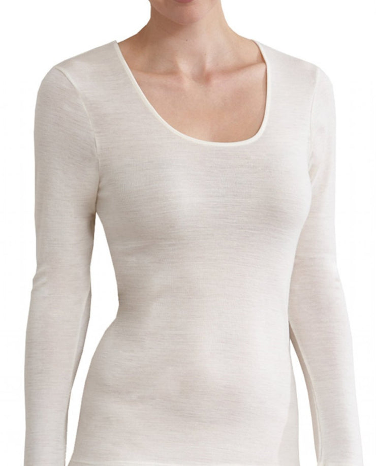 MERINO 150L/SLVE SCOOP NECK