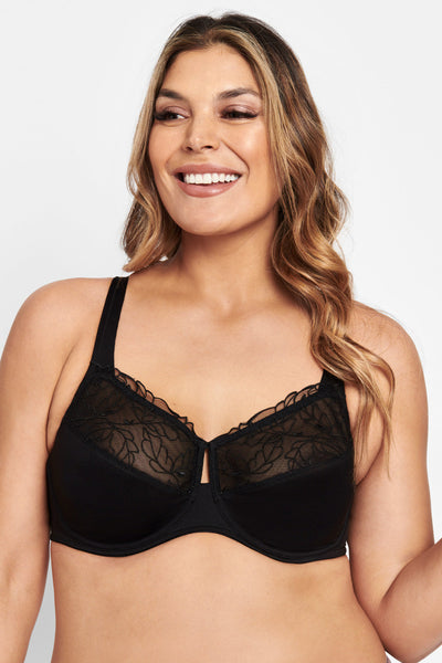 BERLEI LUMINOUS CLASSIC BLACK UNDERWIRE MINIMISER BRA