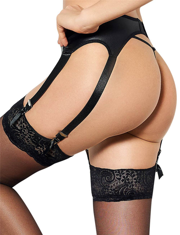 LEATHER GARTER PANTY SET 5113