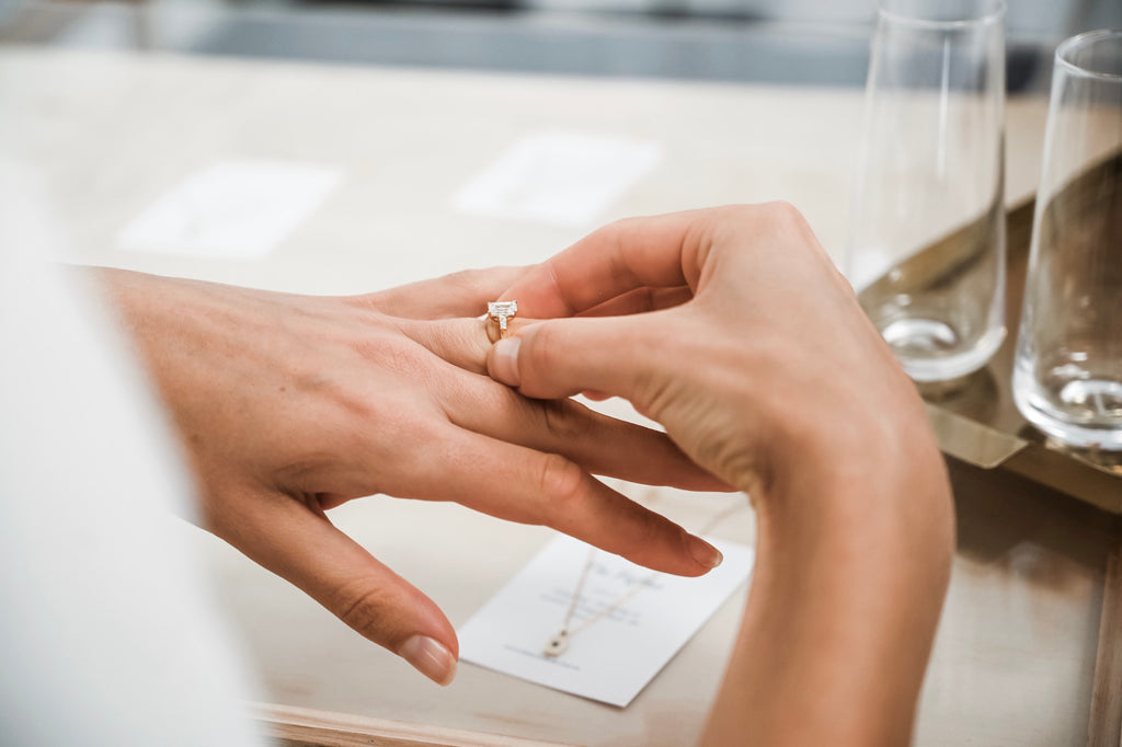 Emerald Cut Engagement Ring on Hand
