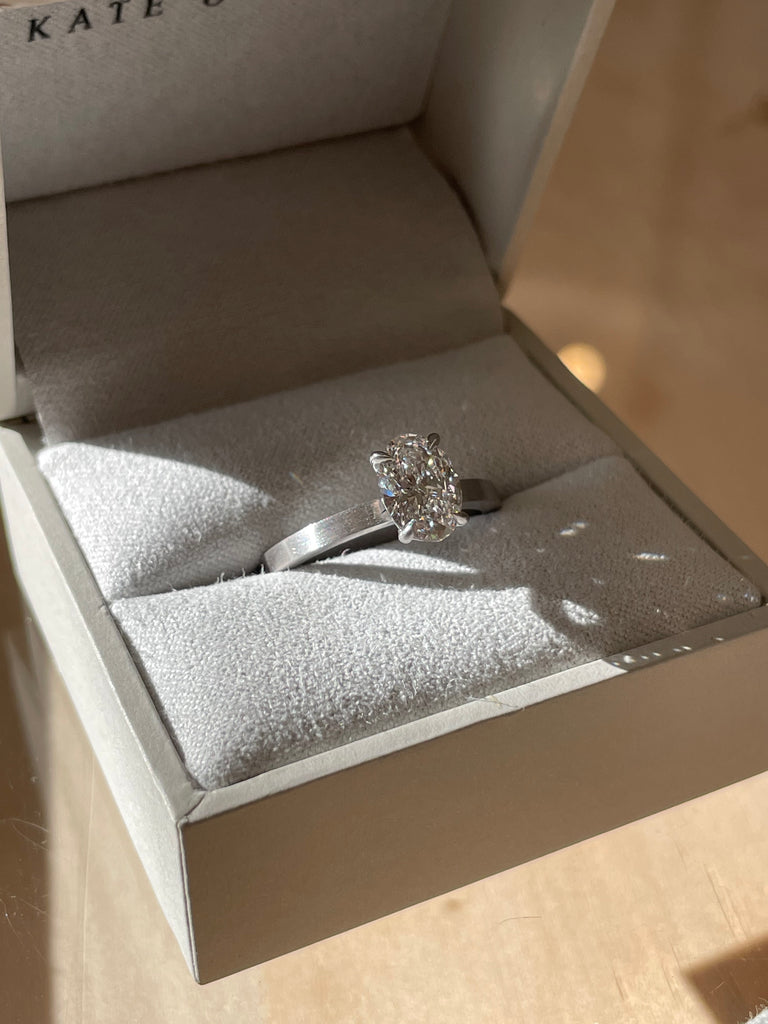 Brushed White Gold Band with Lab Grown Diamond