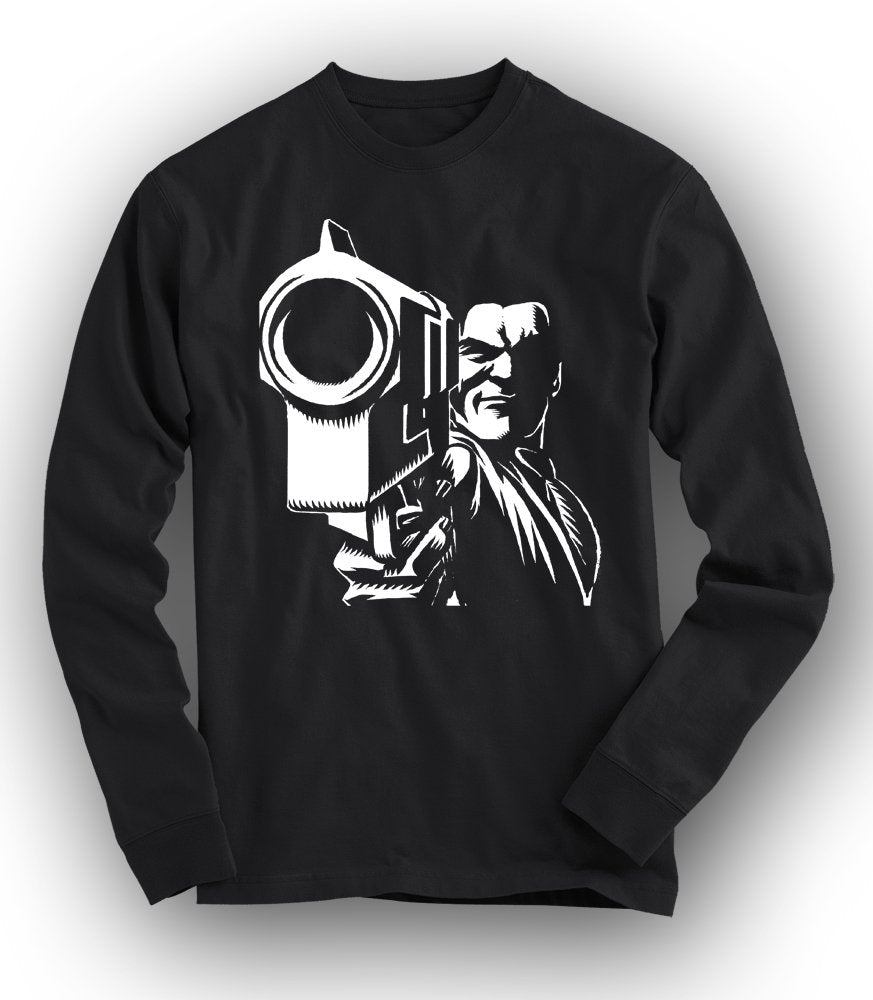 """IN YOUR FACE"" Long-Sleeved Tee - BLACK"