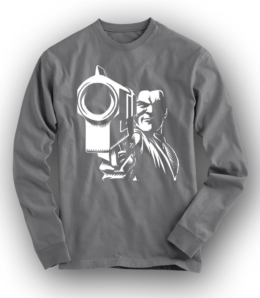 """IN YOUR FACE"" Long-Sleeved Tee - CHARCOAL"