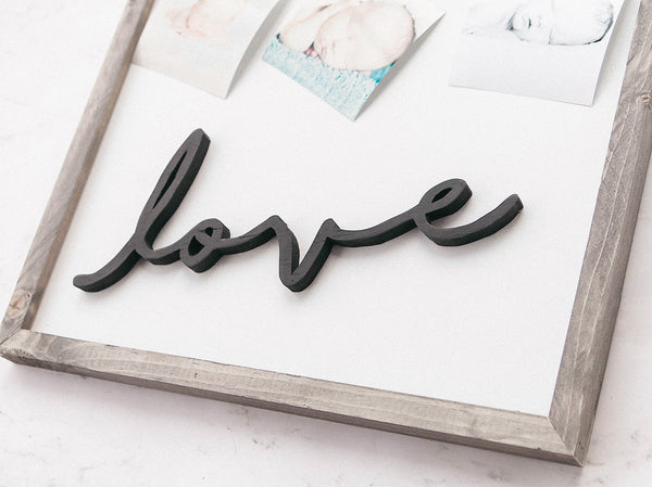 Love Photo Clip Framed Wood Sign