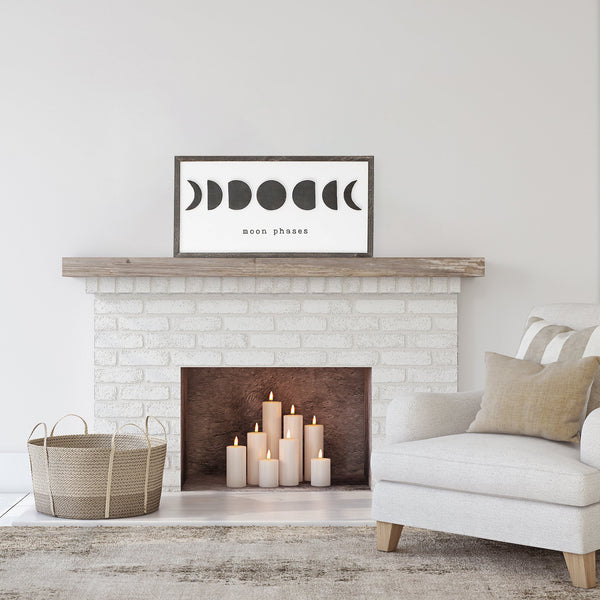 Moon Phases Wooden Framed Sign