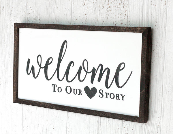 Welcome to our Heart Story Wooden Framed Sign