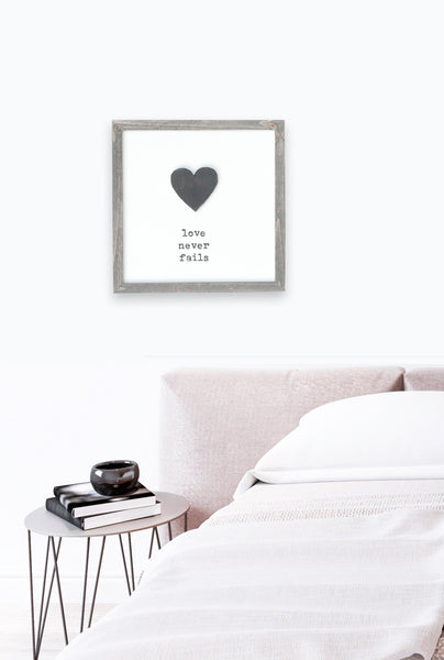 Love Never Fails Framed Wooden Sign