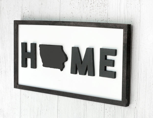Home Iowa Wood Framed Sign | Custom State Home Sign