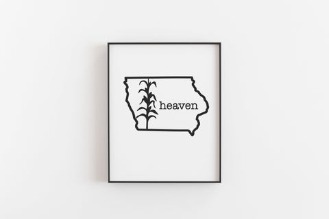 Heaven Corn Iowa Outline Art Print