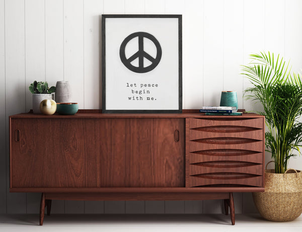 Let Peace Begin With Me Framed Wooden Sign