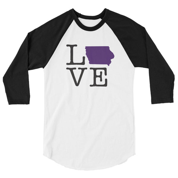 Purple Love Iowa 3/4 sleeve raglan shirt