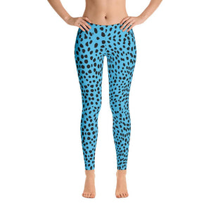 Blue Cheetah Leggings-Leggings-Pixie Cheetah-Pixie Cheetah