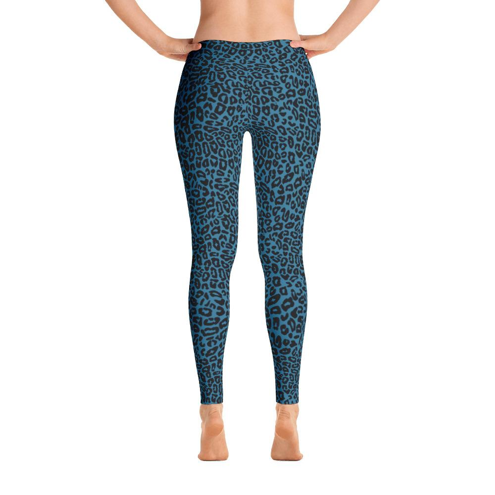 Blue Leopard Leggings-Leggings-Pixie Cheetah-XS-Pixie Cheetah