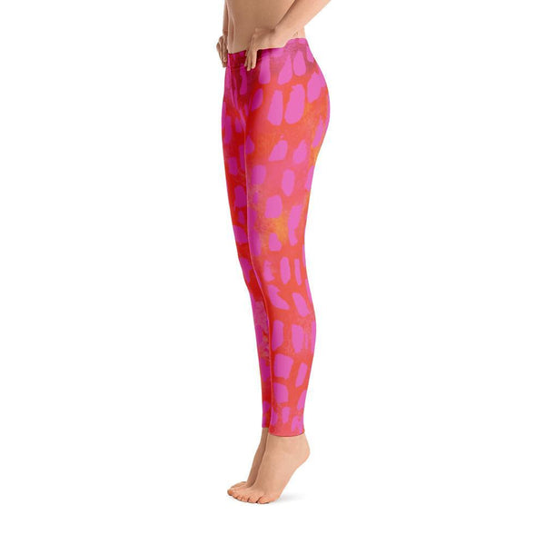 Hot Pink Wild Cat Leggings-Leggings-Pixie Cheetah-Pixie Cheetah