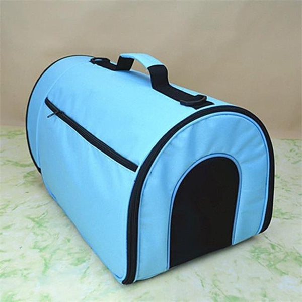 "Small Portable Soft-Sided Single Shoulder Pet Travel Carrier for Cats-Carrier-Pixie Cheetah-Sky Blue-14x10x10""-United States-Pixie Cheetah"