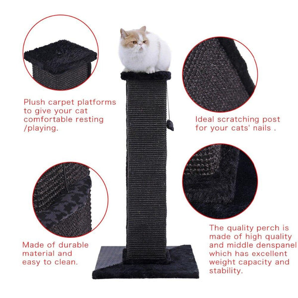 "Strong Sturdy 32"" Heavy Duty Natural Woven Sisal Scratching Post-Scratcher-Pixie Cheetah-Pixie Cheetah"