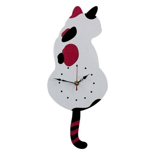 Wagging Tail Tick Tock Kitty Wall Clock-Home Decor-Pixie Cheetah-Calico-Pixie Cheetah