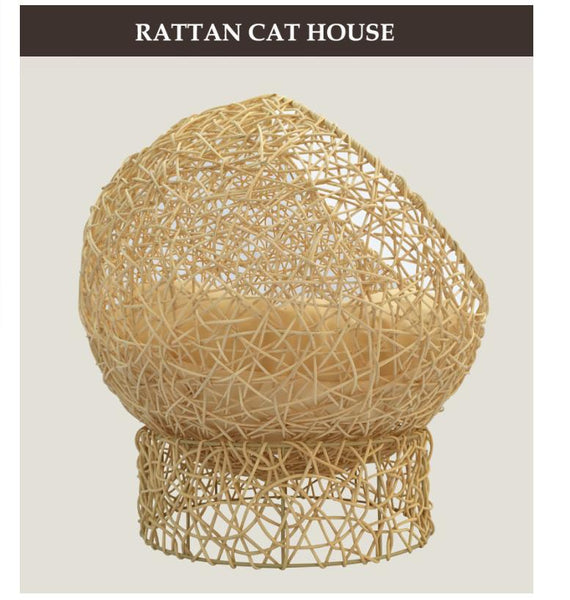 Woven Rattan Cat Sphere Nest Bed-Bed-Pixie Cheetah-Pixie Cheetah