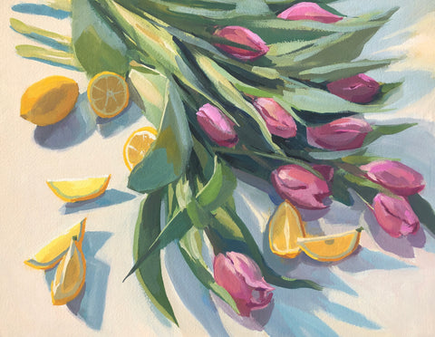 Tulips and Lemons - Original Gouache Painting