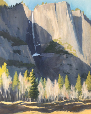 Golden Hour at Yosemite Falls - Original Gouache Painting