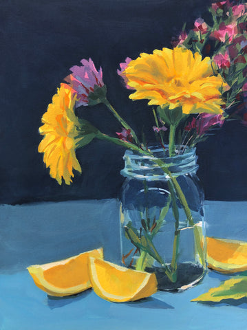 Yellow Flowers Workshop Demo - Original Gouache Painting