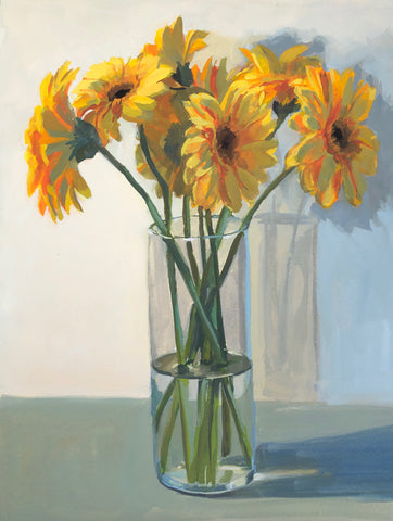 Yellow Gerbera Daisies - Original Gouache Painting