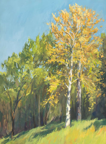Yellow Trees in Morning Light - Original Gouache Painting