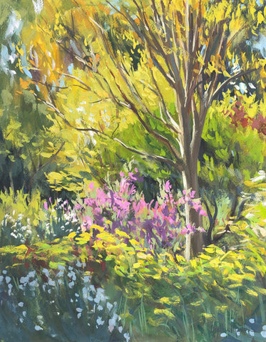 Spring in the Gardens - Original Gouache Painting