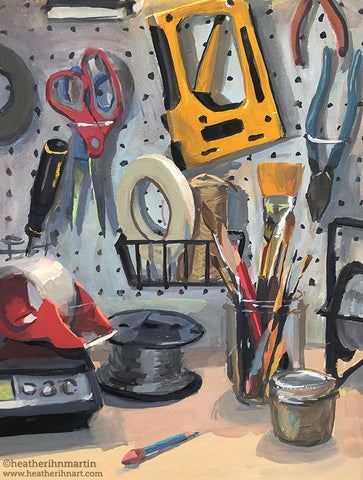 Tools of the Trade - Original Gouache Painting