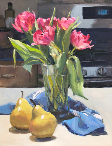Peony Tulips and Pears - Original Gouache Painting