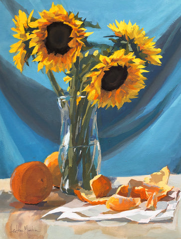 Sunflowers on Blue - Original Gouache Painting