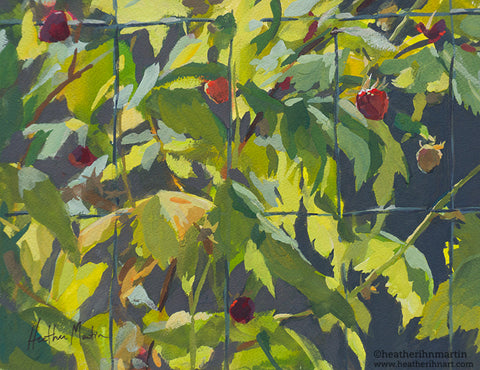 Raspberry Vines - Original Gouache Painting