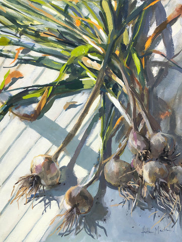 Garlic Harvest - Original Gouache Painting