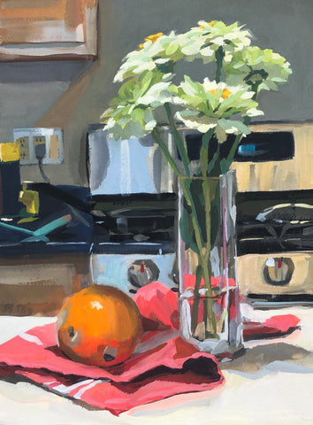 Kitchen Zinnias - Original Gouache Painting