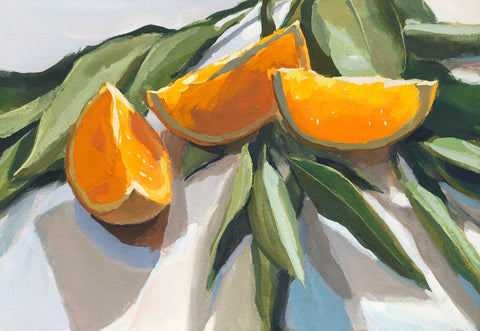 Orange Slices on Leaves - Original Gouache Painting