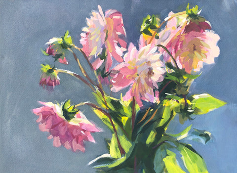 Dahlias in Sunshine - Original Gouache Painting