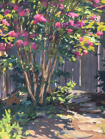 Crepe Myrtle Path - Original Gouache Painting