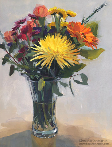 Yellow Spider Mum Bouquet - Original Gouache Painting