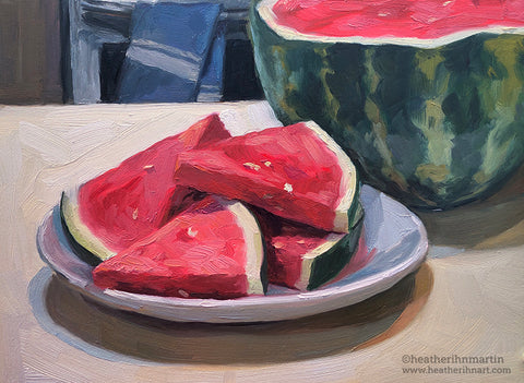 Watermelon Slices - Original Oil Painting
